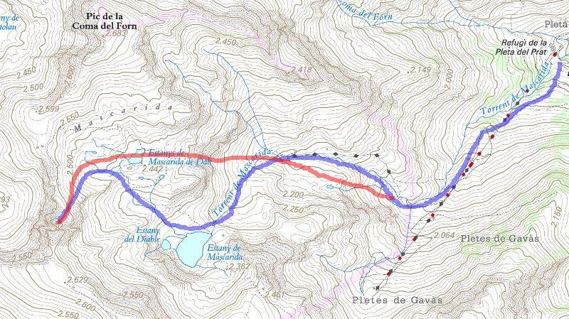 Mapa topográfico de Tavascan