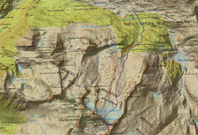 Mapa topográfico de las Maladetas
