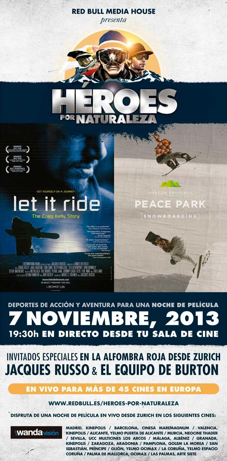 El próximo jueves 7 de noviembre podrás ver 2 peliculas de snowboard en pantalla grande.