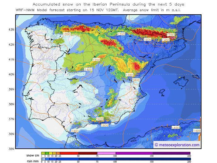 Mapa previsión Península Ibérica