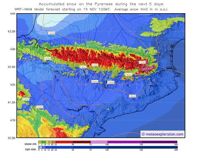 Mapa previsión Pirineos