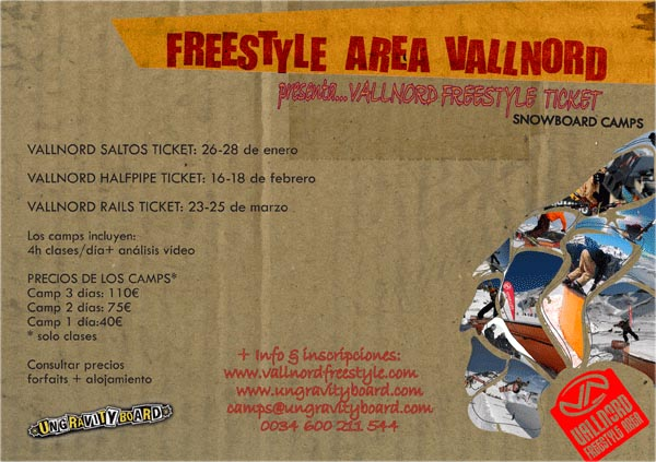 Cambios en la agenda de Camps Vallnord Freestyle Ticket